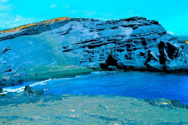 Green sand beach, aka Papalokea Beach
